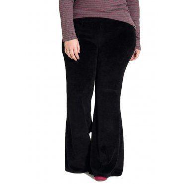 6d96d3539 Calça Plus Size Flare em Plush Preta Quintess | Moda Plus Size ...