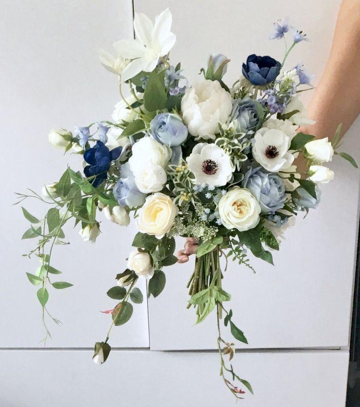 Künstlicher Blumenstrauß Hochzeitsblumenstrauß blaue Rosen Hochwertige Blumen