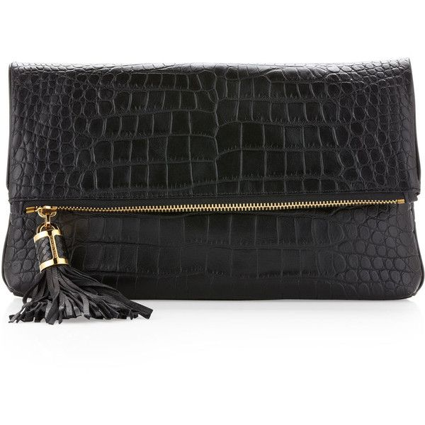 Michael Kors black Large Tonne Crocodile Embossed Fold-Over Clutch Bag ($750) ❤ liked on Polyvore,CHEAP DISCOUNT MICHAEL KORS BAGS ON SALE