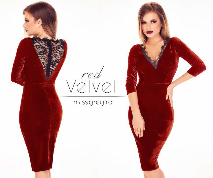 A gorgeous midi red velvet dress with black lace inserts: https://missgrey.org/en/dresses/red-velvet-dress-midi-black-lace-sandra/474?utm_campaign=octombrie&utm_medium=rochie_sandra_rosie&utm_source=pinterest_produs