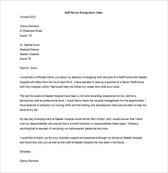 Resignation Letter Example For Nurses from i.pinimg.com