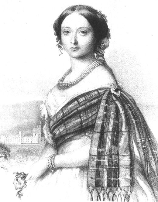 Victoria dressed in a tartan shawl for dinner. She often wore tartan while in her Balmoral Estate, where the men of the Royal family also wore traditional Scottish dress.