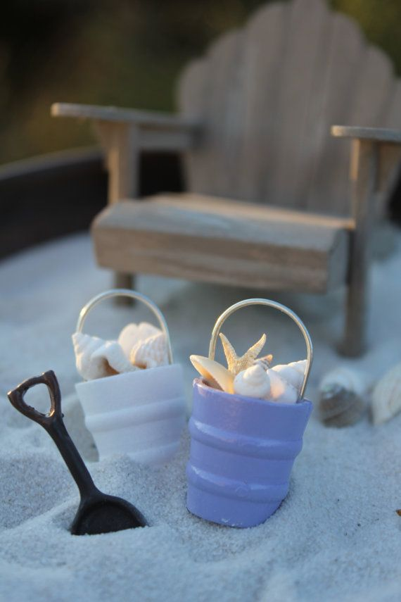 Miniature Beach Bucket of Seashells, Beach Shovel, Starfish or Sand Dollar for your Beach or Wedding Topper - by Landscapes In Miniature