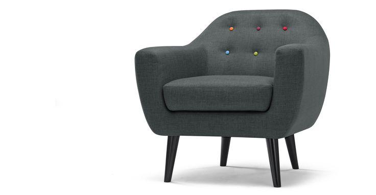 Ritchie fauteuil, antracietgrijs met regenboogknopen