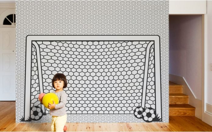 papier peint enfants cage de foot chambre hugo pinterest d cor et d co. Black Bedroom Furniture Sets. Home Design Ideas