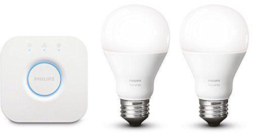 Philips – Kit de démarrage – 2 ampoules Hue White E27 + pont de connexion Hue: Simples et intelligentes, les ampoules Hue White produisent…