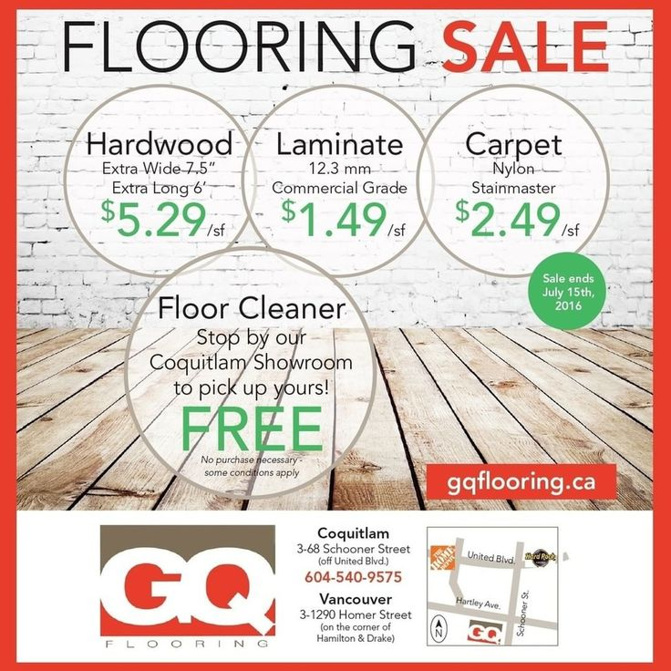 FLOORING SALE!!! Drop by our showroom to take advantage of our current Sale!  GQ Flooring - Coquitlam 3-68 Schooner Street Coquitlam, BC V3K 7B1 Hours: Monday, 9:00 AM – 4:30 PM Tuesday – Saturday, 9:00 AM – 5:30 PM  #SALE #GQFlooring