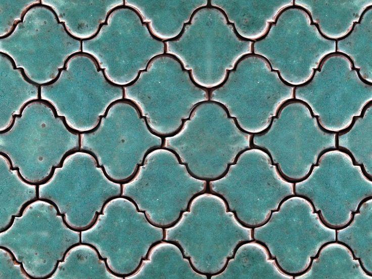 Handmade ceramic tile mosaic, arabesque pattern in turquoise