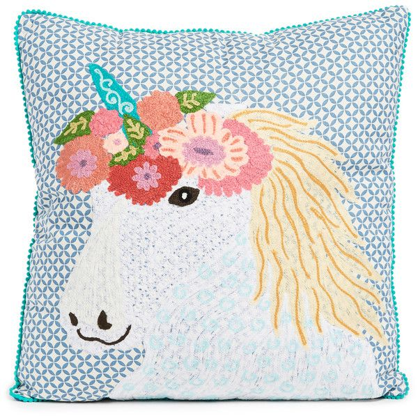 Gift Boutique Floral Unicorn Pillow ($65) ❤ liked on Polyvore featuring home, home decor, throw pillows, multi, cotton throw pillows, floral accent pillows, flowered throw pillows, floral home decor and indian home decor