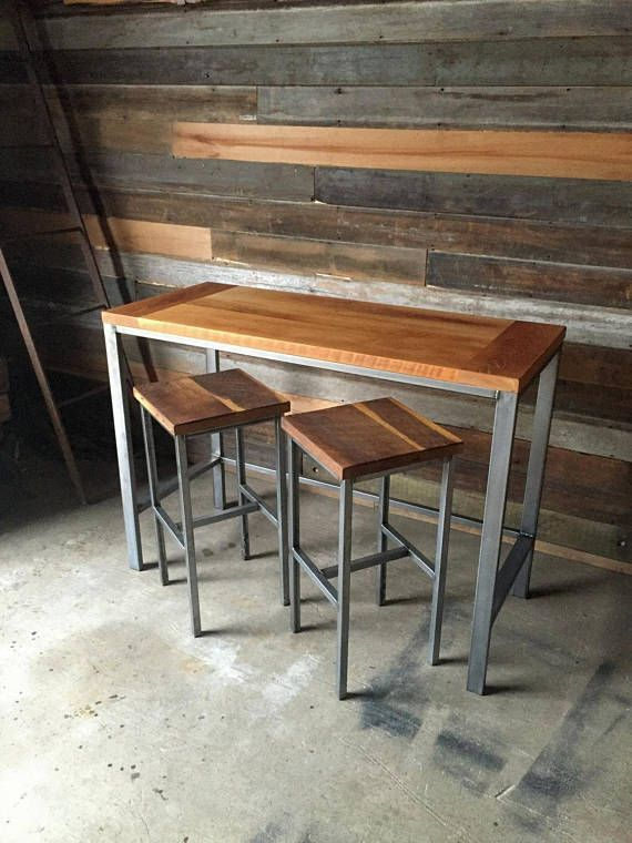 Reclaimed Wood Pub Table With Industrial Metal Base Counter Height Dining Table High Top Tables Table