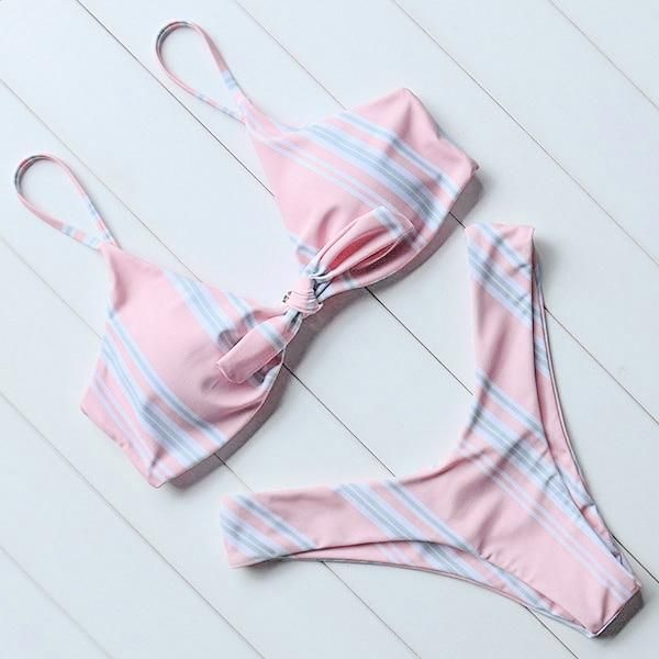 Pink Striped Twist Bandeau Push Up Micro Bikini Set