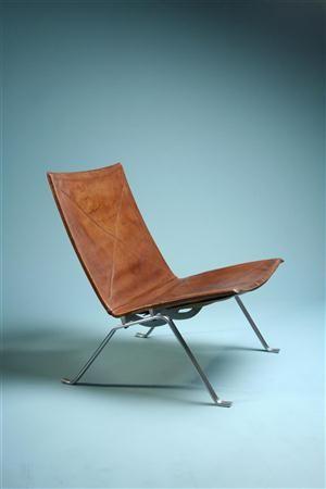 Poul Kjærholm, PK20 lounge chair, cirka 1967. Leather and matt chrome-plated steel. Manufactured by E. Kold Christensen, Denmark.