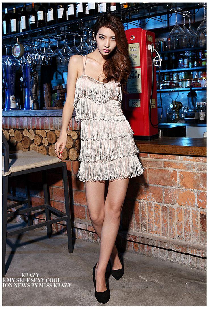Сексуальные платья кисточкой без спинки мини блестящие черные коктейль износ клуба новые модные женщин весна лето 2014 Vestidos, принадлежащий категории Одежда и аксессуары и относящийся к летнее платье на сайте AliExpress.com