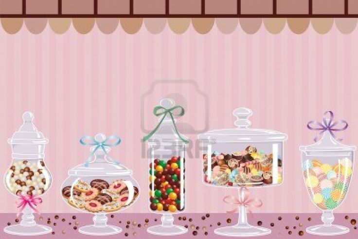 Candy jars with chocolates, candies and dragees Stock Photo