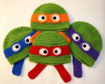 ninja+turtle+crochet+hat+pattern | Ninja Turtles Hat, Teenage Mutant Ninja Turtles Hat, TMNT, Crochet ...