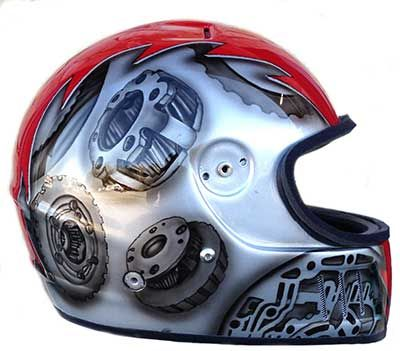 custom painted racing helmets steampunk | Bell helmet custom paint design | Airbrush Gallery
