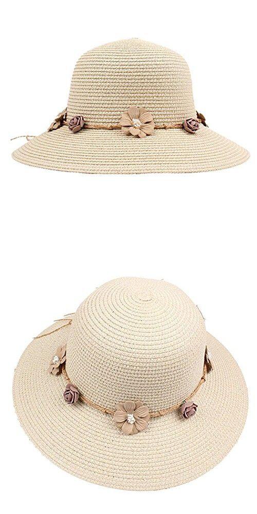 b7196c15c96e4 Corgy Women Fashion Flower Decor Wide Brim Round Straw Sunhat Beachwear  Traval