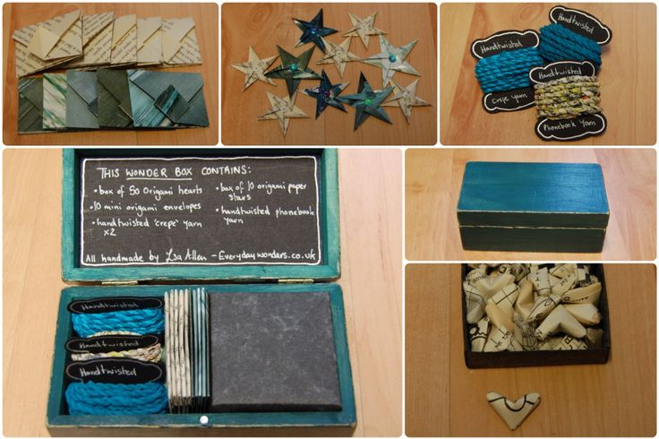 Wonder Boxes - by Louise.S.A. Allen.         Teal paper themed gift box! each wonder box is unique