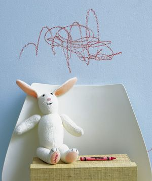 Baking soda as crayon eraser. sprinkle it on a damp sponge to erase crayon, pencil, and ink from painted surfaces.