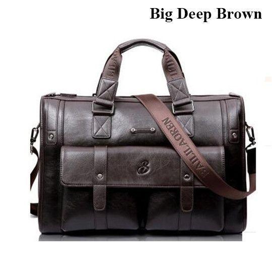 "P.P.X Brand Business Briefcase Leather Man 14-15"" Laptop Handbags Large-Capacity Travel Men's Messenger Crossbody Bag P083"