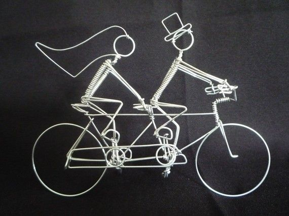 A LOVE STORY: Tandem Bike with Riders Wedding Cake Topper