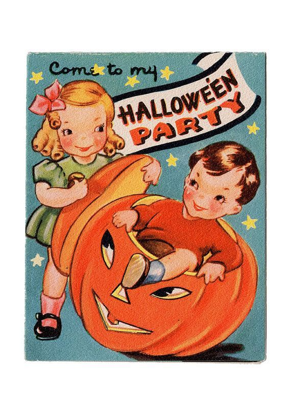 Vintage Reproduction Halloween Party Invitation Set Of 10 Kids Pumpkin Cute