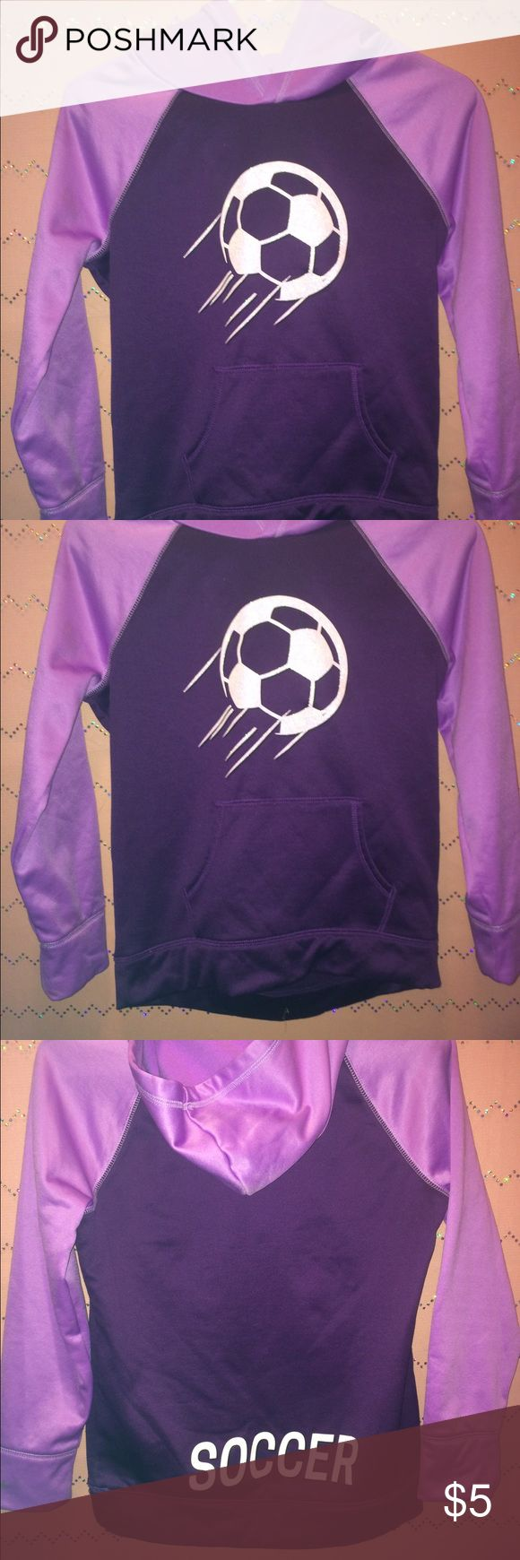 Girls Justice Soccer Hoodie Size 12 Must see pictures. In good condition but somehow managed to get a little paint or nail polish on one sleeves. Justice Shirts & Tops Sweatshirts & Hoodies