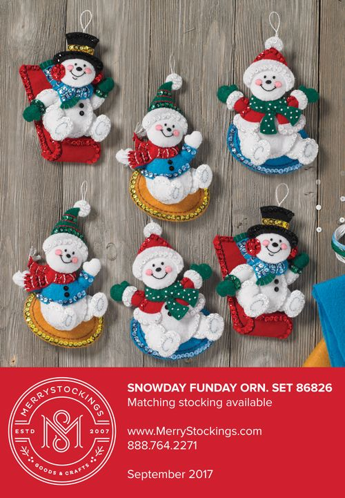 Bucilla ornament set called Snowday Funday. Both the ornaments and matching stocking kit can be found at MerryStockings.com.