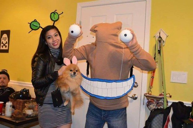 This terrifyingly adorable Aaahh!!! Real Monsters trio. | 23 Ridiculously Clever Halloween Costumes Every TV Lover Will Want