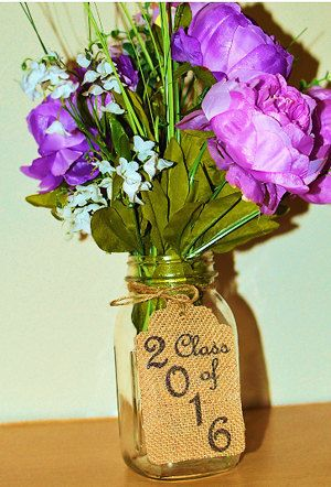 "Burlap ""Class of 2016"" Tag for Centerpiece at Rustic or Outdoor Graduation Party (SET OF 5)"