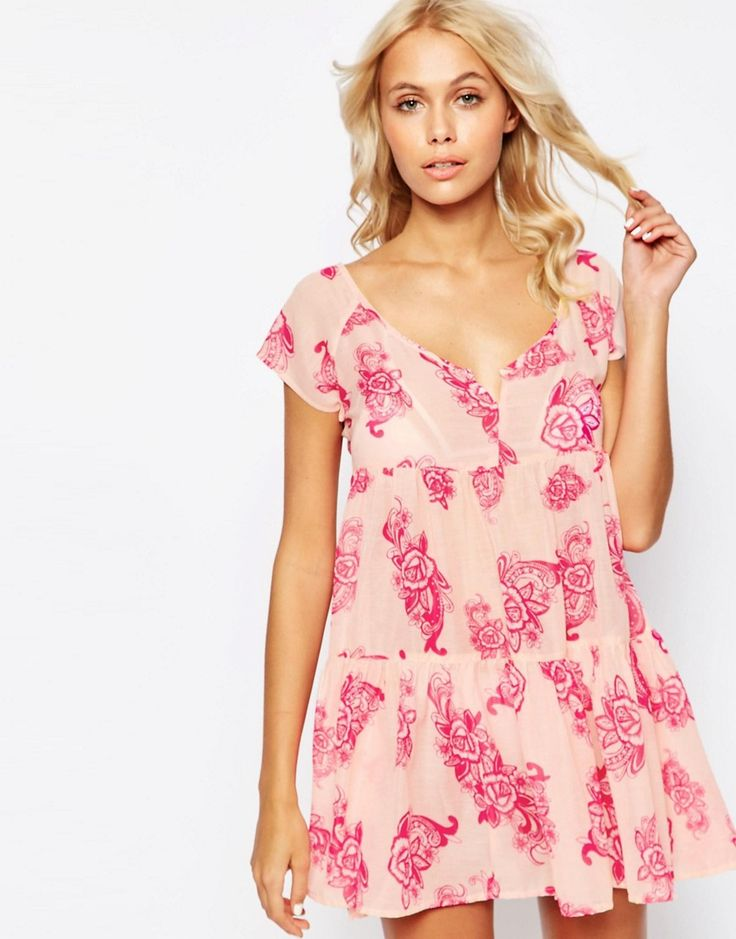 Image 1 of ASOS Hippy Paisley Print Tiered Smock Beach Dress