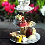 Alice in Wonderland inspired tea service at the Sanderson Hotel.