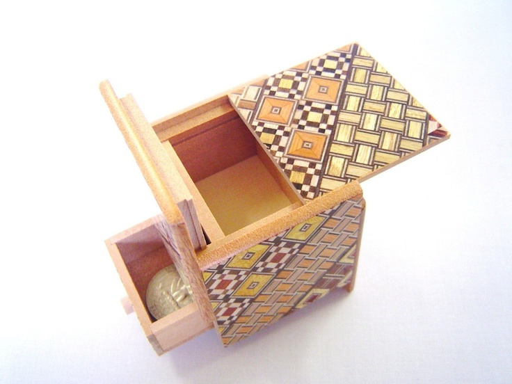 Japanese Puzzle box (Himitsu bako)- 2.2inch(56mm) Cube Open by 4steps/with hidden Drawer box Yosegi.