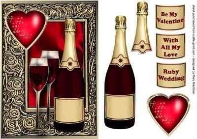 Celebration Wine Ruby - Valentine or Ruby Wedding card