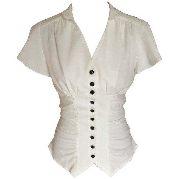 Ivory White Vintage 40s Retro Steampunk Gothic Victorian Button... (€35) ❤ liked on Polyvore featuring tops, blouses, retro tops, white button blouse, button blouse, retro blouses and ruched blouse