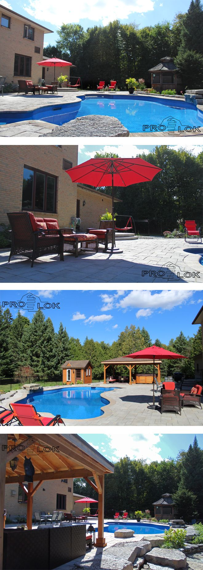 Lush backyard pool, and patio. Tranquil setting perfectly balanced with lounge furniture and featured waterfall. -- Products by Permacon. // #pool #patio #landscaping #ottawa #poolside #lounge #outdoorfurniture #naturalstone #pergola