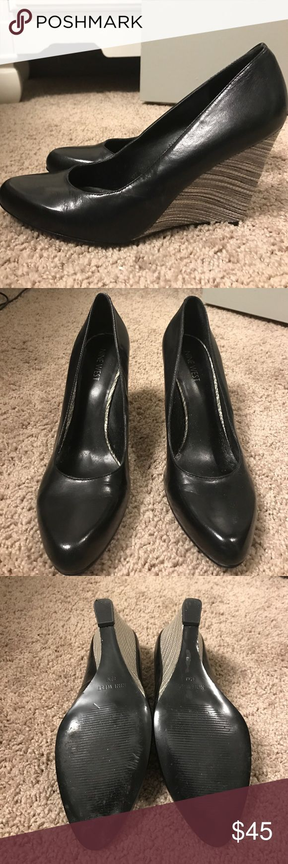 Nine West black and white wedges Worn once, black and white Nine West leather wedges Nine West Shoes Wedges