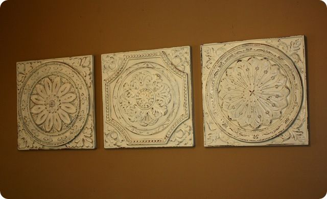 decorating with tin ceiling tiles | ... original inspiration came from the Vintage Tin Tiles at Pottery Barn
