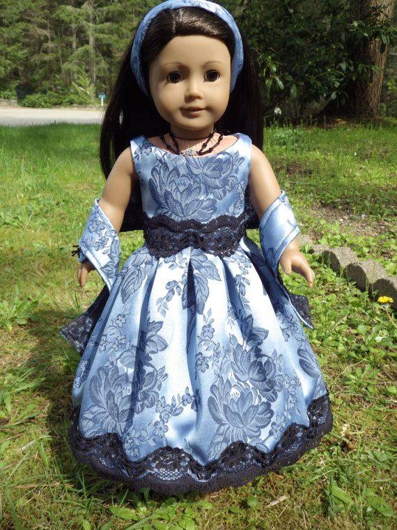 Image result for navy blue brocade doll dress