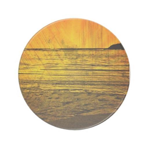 Golden Sunset Beach Beverage Coaster