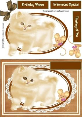 A lovely card front to make and give to anyone on there special day ,Lovely Cute Fluffy kitten and Mouse a lovely card has three greeting tags and a blank one for you to choose the greeting