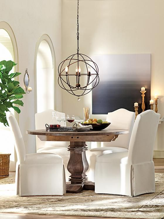aldridge round dining table kitchen nook great price with similar look to restoration hardware - Round Dining Room Chairs