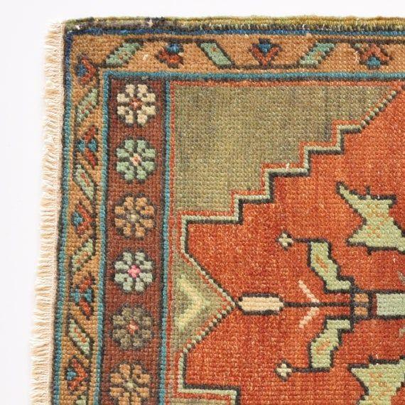 Bohemian Rug 19 7x39 8 50x101cm Vintage Turkish Etsy Bohemian Rug Rugs Rugs On Carpet