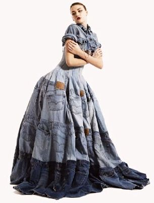 Denim ball gown! Makes me want to cut up all my jeans and make something outrageous.