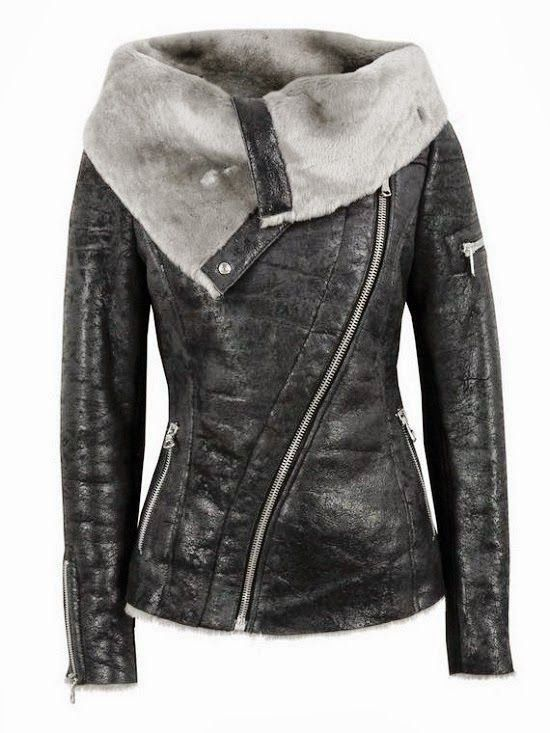 The Vogue Fashion: Black Leather Wool Jacket thevoguefashion.com