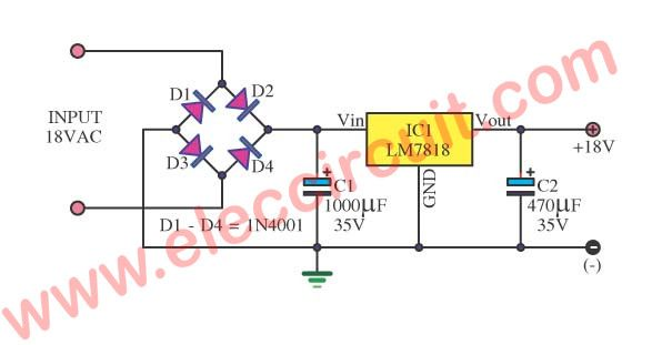 18v Dc Power Supply Circuit Using Lm7818 Eleccircuit Com Power Supply Circuit Power Supply Circuit