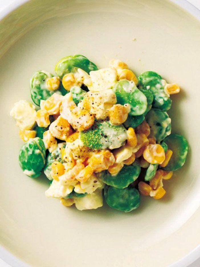【ELLE a table】そら豆とコーンのクリームチーズサラダレシピ|エル・オンライン