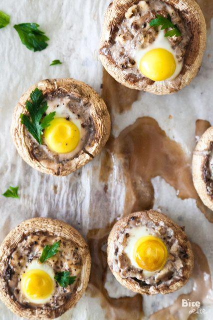 [Mushroom/Quail] ---- Quail Egg Stuffed Mushrooms:: 5  mushrooms caps, 5 quail eggs, 2 Tbs grated cheese, salt & pepper, 2 tsp parsley, 1 tsp olive oil.