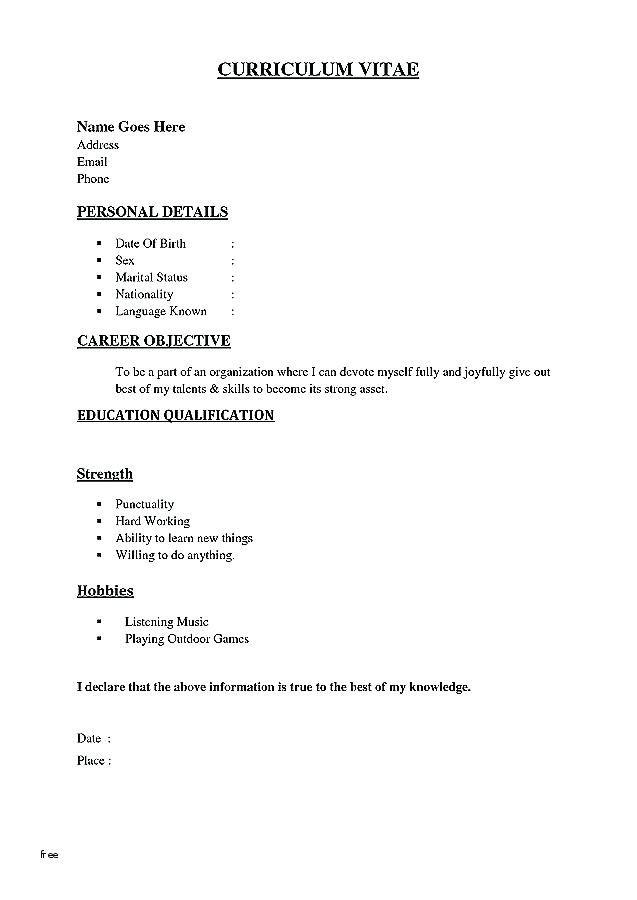 Resume Format Underline Resume Templates Resume Format Simple Resume Template Sample Resume Templates