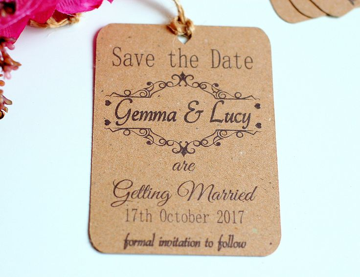 Save the date wedding cards, kraft card save the date, Wedding save the date, rustic save the date, hanging save the date by TPDWeddingStationary on Etsy